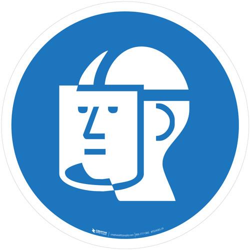 Wear Face Shield Mandatory - ISO Floor Sign