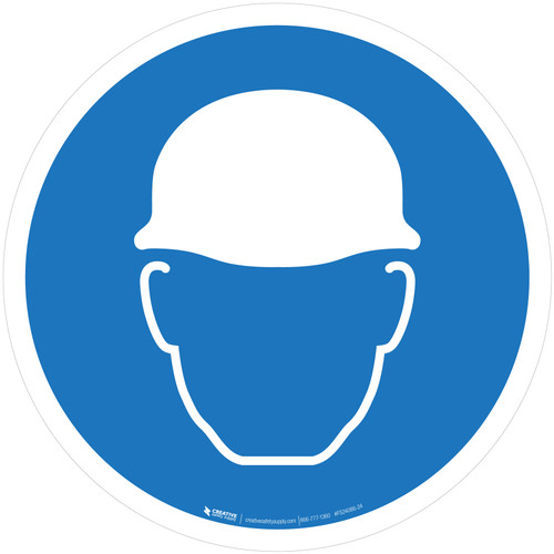 Wear Head Protection Mandatory - ISO Floor Sign
