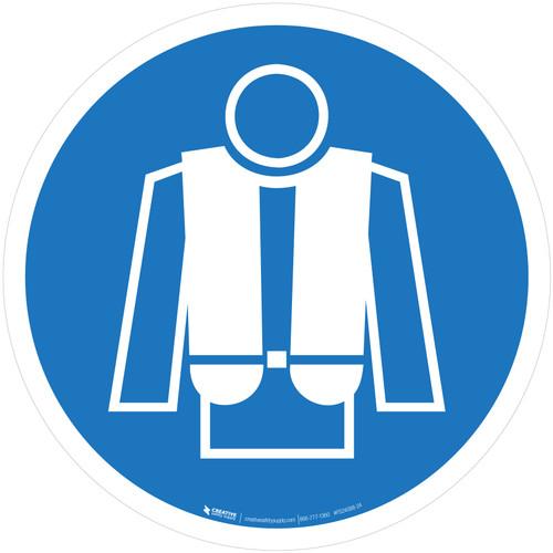 Wear Personal Flotation Device Mandatory - ISO Floor Sign