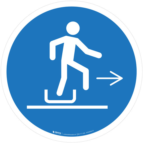 Alighting From Toboggan Right Mandatory - ISO Floor Sign