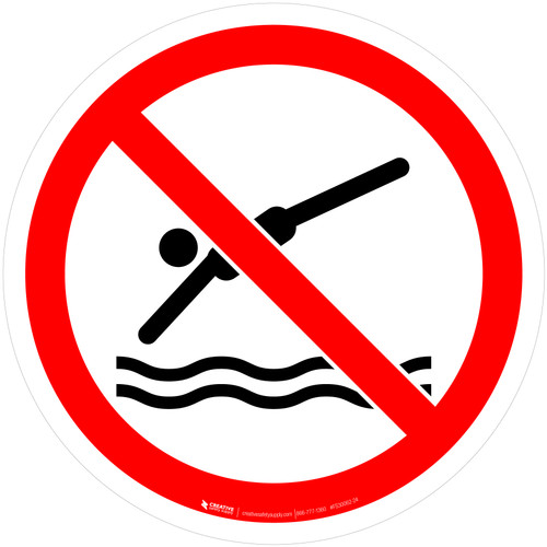 No Diving Prohibition - ISO Floor Sign