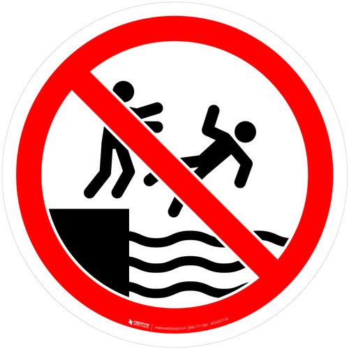 No Pushing Into Water Prohibition - ISO Floor Sign