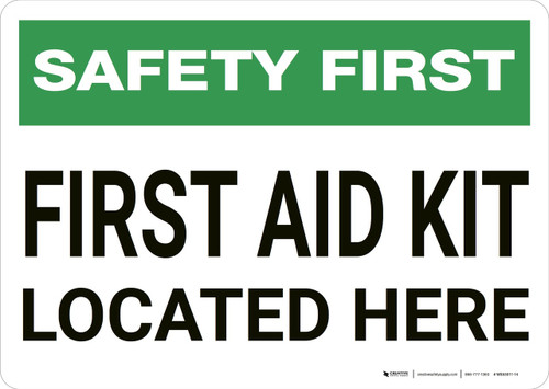 Safety First: First Aid Kit Located Here - Wall Sign
