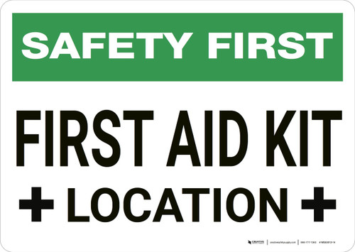 Safety First: First Aid Kit Location - Wall Sign