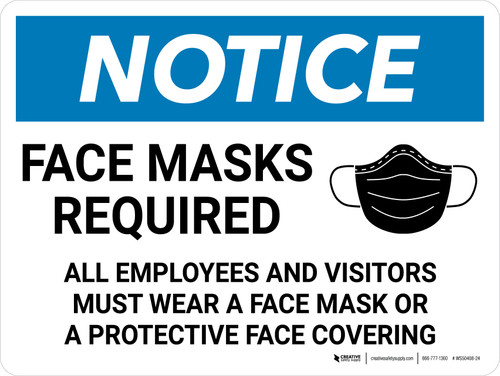 Notice: Face Masks Required - All Employess and Visitors Must Wear Wall Face Mask Sign