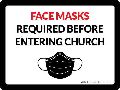 Face Masks Required Before Entering Church Landscape - Wall Sign