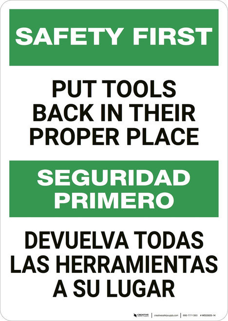 Safety First: Put Tools Back in Their Proper Place Bilingual - Wall Sign
