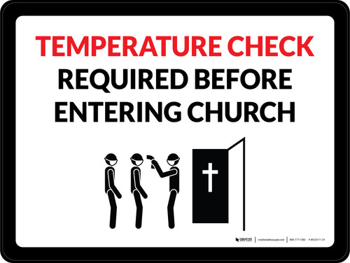 Temperature Check Required Before Entering Church Landscape - Wall Sign