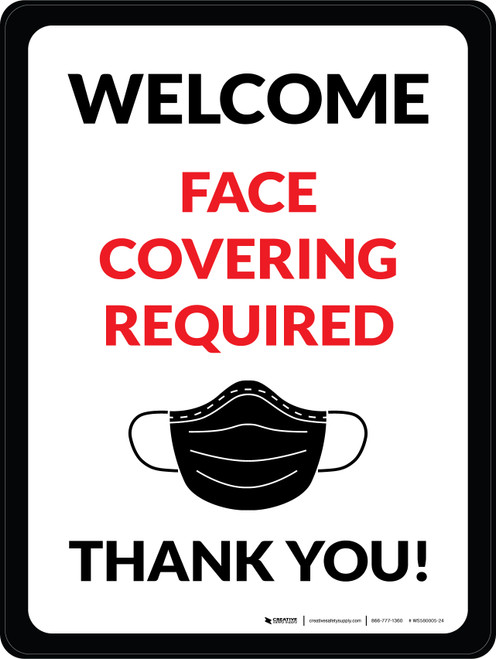 Welcome Face Covering Required - Thank You with Icon Portrait - Wall Sign