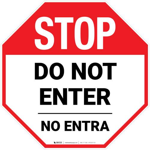 STOP Do Not Enter Bilingual Stop - Floor Sign
