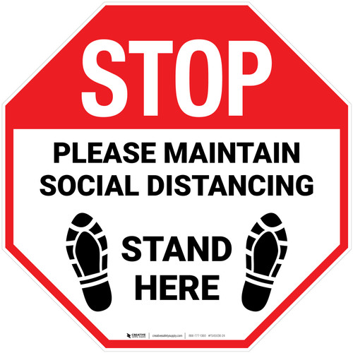 STOP Please Maintain Social Distancing Stand Here with Shoe Prints Stop - Floor Sign