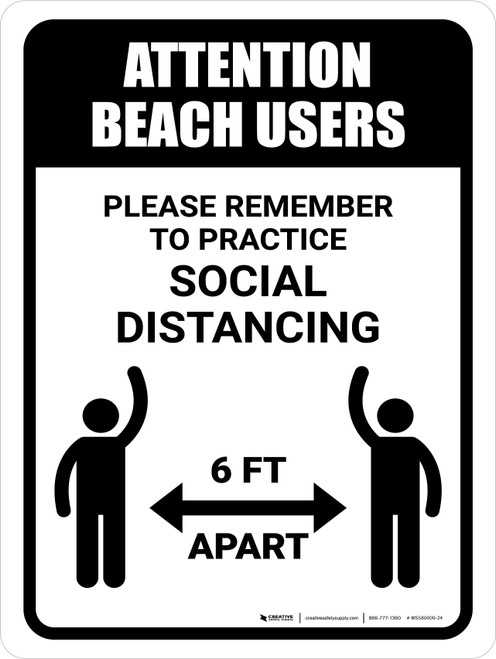 Attention Beach Users Social Distancing Portrait - Wall Sign