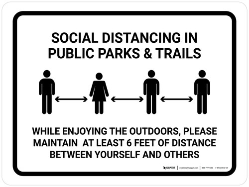 Social Distancing In Public Parks And Trails Landscape - Wall Sign