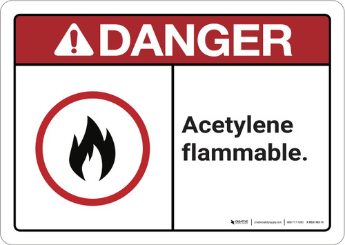 Danger: Acetylene Flammable ANSI - Wall Sign