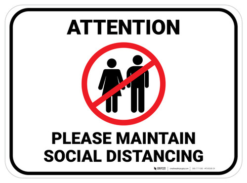Attention Please Maintain Social Distancing with Icon Rectangle - Floor Sign