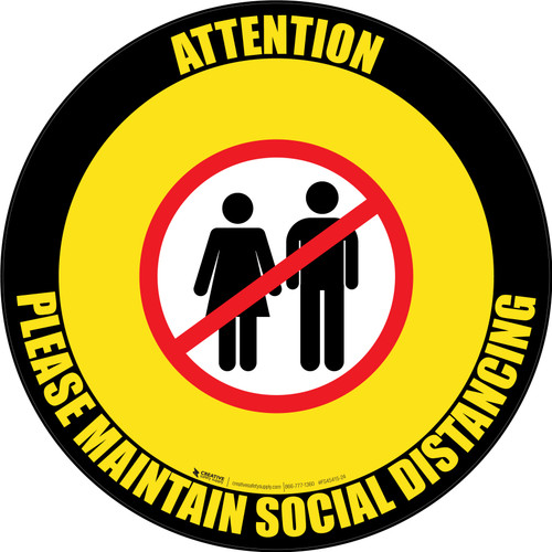 Attention: Please Maintain Social Distancing with Icon Black Border Circular - Floor Sign