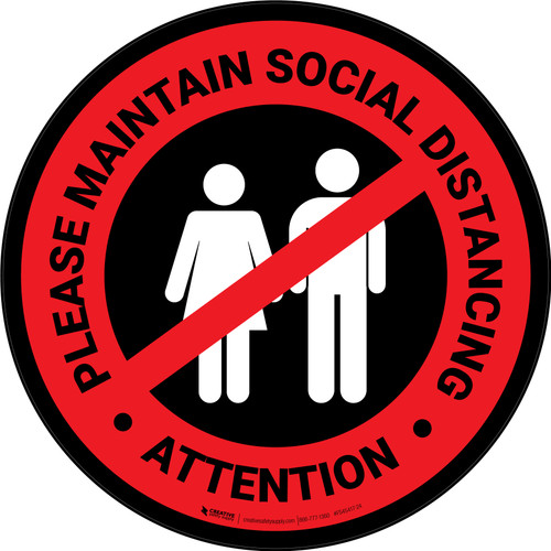Attention: Please Maintain Social Distancing with Icon Red/Black Circular - Floor Sign