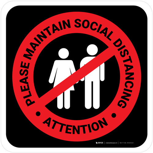 Attention: Please Maintain Social Distancing with Icon Red/Black Square - Floor Sign