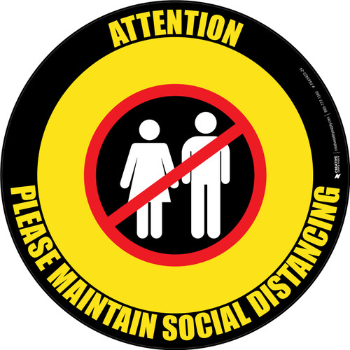 Attention: Please Maintain Social Distancing with Prohibited Icon Yellow/Black Circular - Floor Sign
