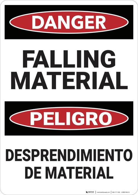 Danger: Bilingual Falling Material - Wall Sign
