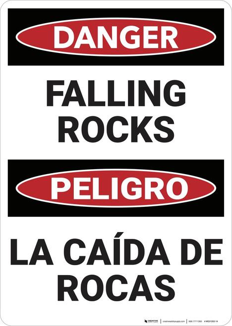 Danger: Danger Falling Rocks - Wall Sign