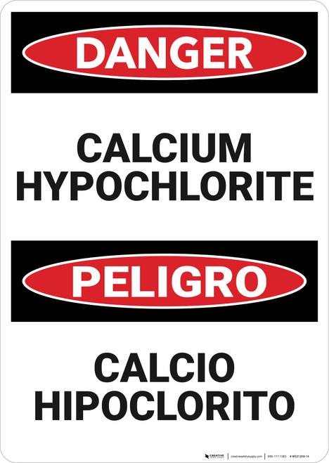 Danger: Calcium Hypochlorite Bilingual  - Wall Sign