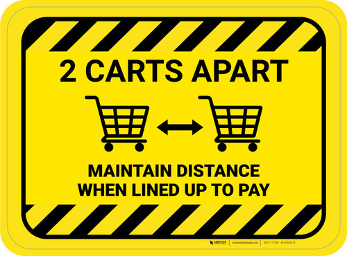 2 Carts Apart When Lined Up To Pay with Icon Hazard Stripes Rectangle - Floor Sign