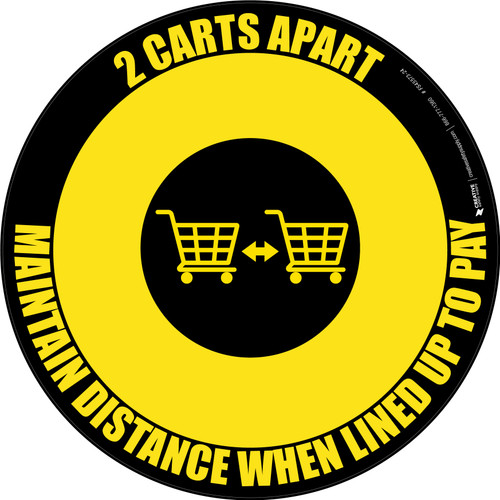 2 Carts Apart When Lined Up To Pay with Icon Yellow/Black Circular - Floor Sign