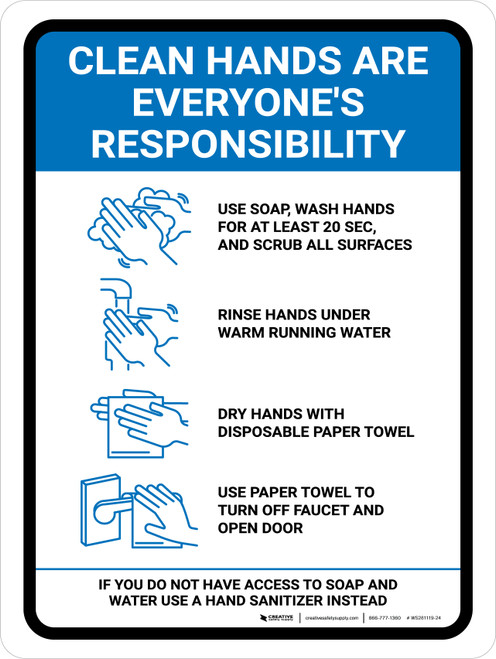 Clean Hands Are Everyones Responsibility with Icons Blue Portrait - Wall Sign