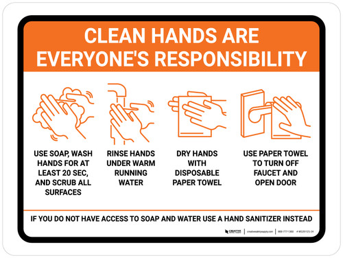 Clean Hands Are Everyones Responsibility with Icons Orange Landscape - Wall Sign