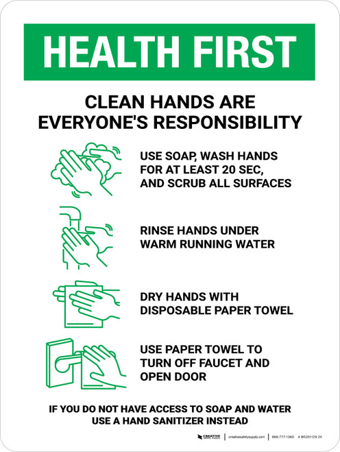 Health First: Clean Hands Are Everyones Responsibility with Icons Portrait - Wall Sign