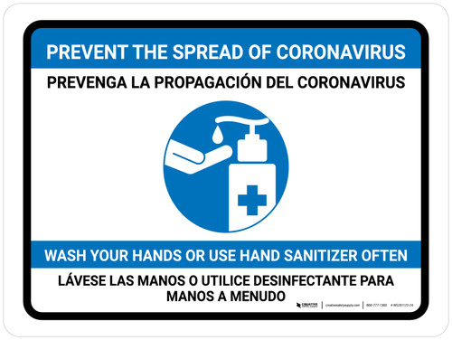 Prevent Coronavirus - Wash Your Hands Or Use Hand Sanitizer Bilingual with Icon Landscape - Wall Sign