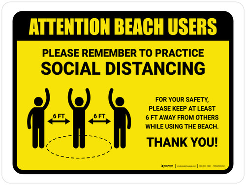 Attention: Beach Users Remember Social Distancing with Icon Landscape - Wall Sign