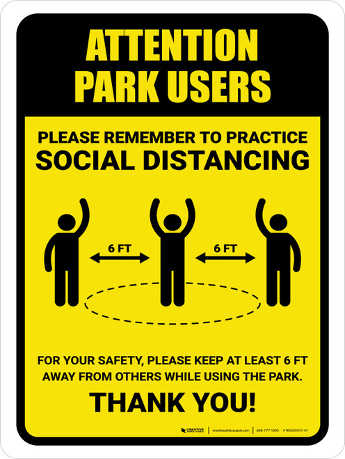 Attention: Park Users Remember Social Distancing with Icon Portrait - Wall Sign