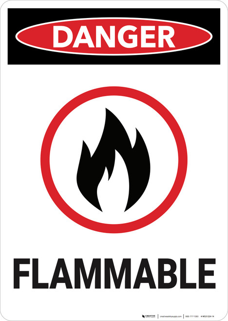 Danger: Combustible Flammable Vertical - Wall Sign
