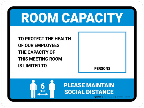 Room Capacity: Maintain Social Distance with Icon Blue Landscape - Wall Sign