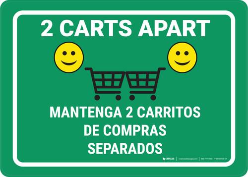 2 Carts Apart with Emojis Green Bilingual Green - Wall Sign