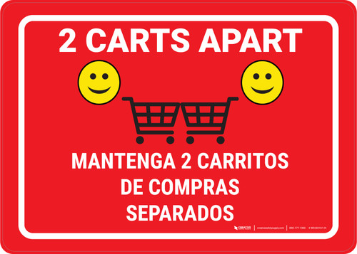2 Carts Apart with Emojis Green Bilingual Red - Wall Sign