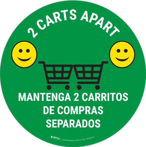 2 Carts Apart with Emojis Bilingual Green - Floor Sign
