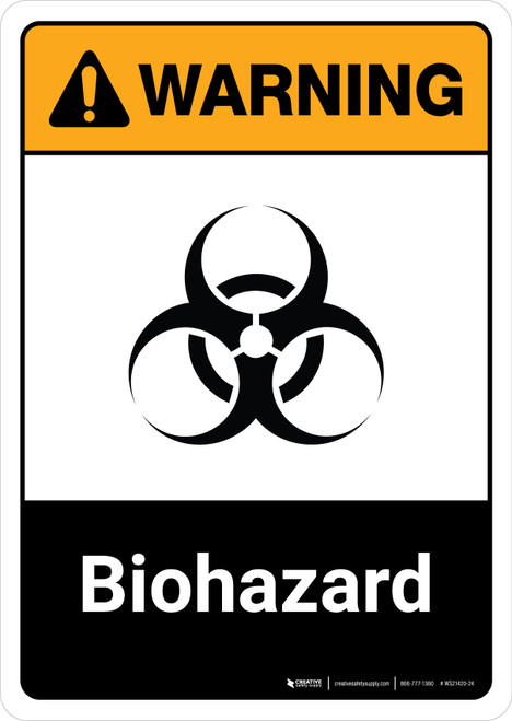 Warning: Biohazard with Icon ANSI Portrait - Wall Sign