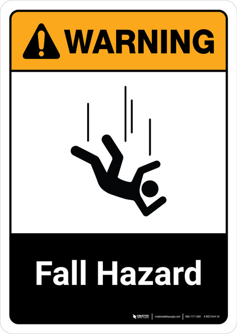 Warning: Fall Hazard with Icon ANSI Portrait - Wall Sign