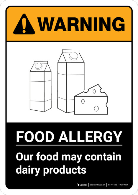 Warning: Food Allergy Food May Contain Dairy with Icon ANSI Portrait - Wall Sign