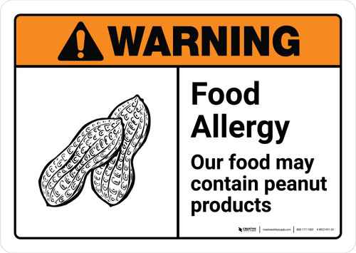 Warning: Food Allergy Food May Contain Peanuts with Icon ANSI Landscape - Wall Sign