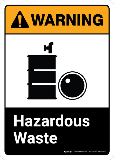 Warning: Hazardous Waste with Icon ANSI Portrait - Wall Sign