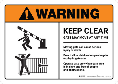 Warning: Keep Clear Gate May Move At Any Time with Icons ANSI Landscape - Wall Sign