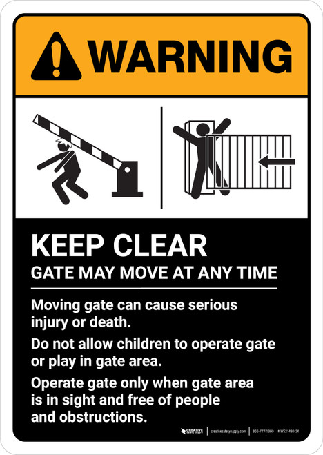 Warning: Keep Clear Gate May Move At Any Time with Icons ANSI Portrait - Wall Sign