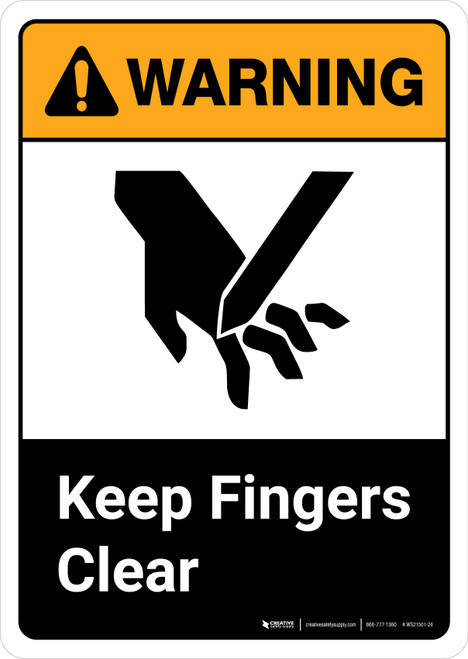 Warning: Keep Fingers Clear with Icon ANSI Portrait - Wall Sign