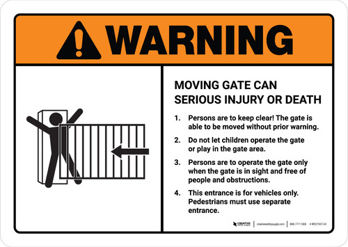Warning: Moving Gate Can Cause Serious Injury or Death with Icon ANSI Landscape - Wall Sign