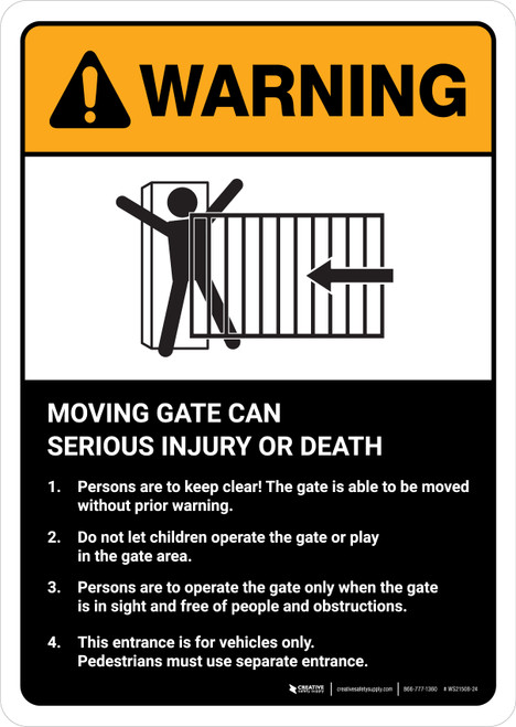 Warning: Moving Gate Can Cause Serious Injury or Death with Icon ANSI Portrait - Wall Sign
