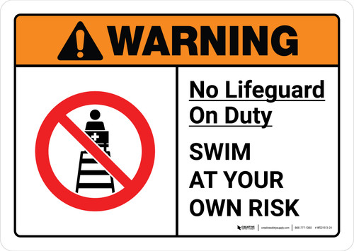Warning: No Lifeguard on Duty with Icon ANSI Landscape - Wall Sign